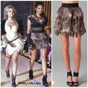 Alice + Olivia Kae leopard print feather skirt XS